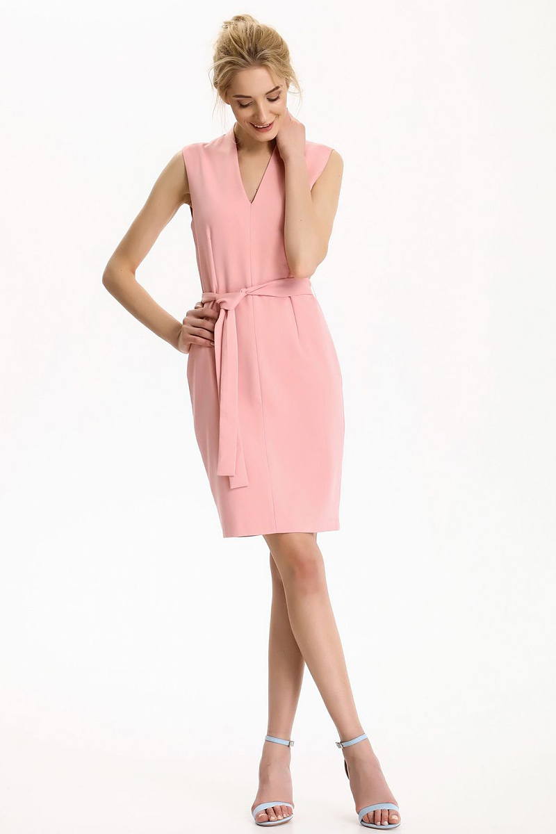 Платье Top Secret, цвет: темно-розовый. SSU1814CR. Размер 40 (48)SSU1814CRПлатье Top Secret выполнено из вискозы, полиэстера и эластана. Модель с V-образным вырезом горловины на талии дополнена поясом.