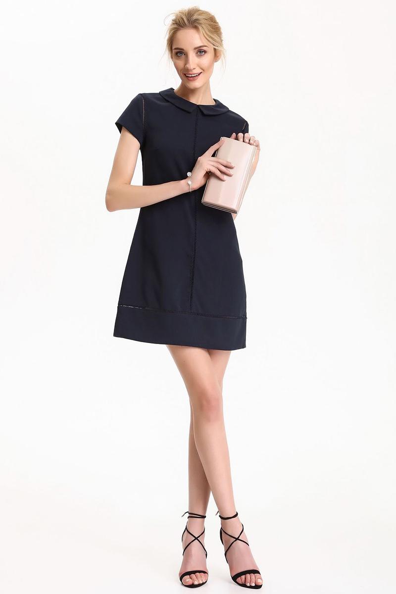 Платье Top Secret, цвет: темно-синий. SSU1815GR. Размер 42 (50)SSU1815GRПлатье Top Secret выполнено из полиэстера, вискозы и эластана. Модель с отложным воротником и короткими рукавами.
