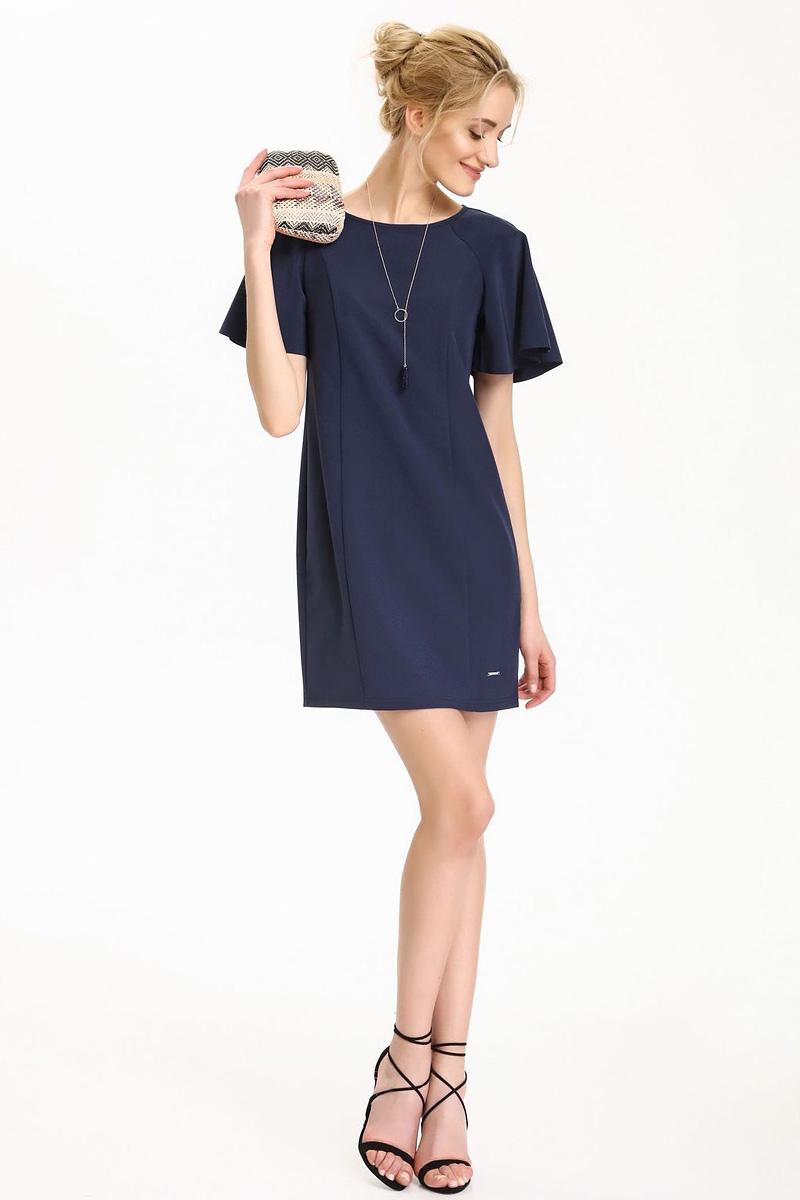 Платье Top Secret, цвет: темно-синий. SSU1822GR. Размер 42 (50)SSU1822GRПлатье Top Secret выполнено из полиэстера и эластана. Модель с круглым вырезом горловины и короткими рукавами.
