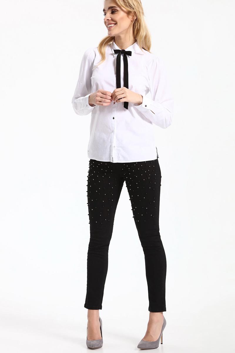 Рубашка женская Top Secret, цвет: белый. SKL2331BI. Размер 36 (44)SKL2331BIРубашка женская Top Secret выполнена из 100% хлопка. Модель с отложным воротником застегивается на пуговицы. Дополнено изделие текстильным бантиком.