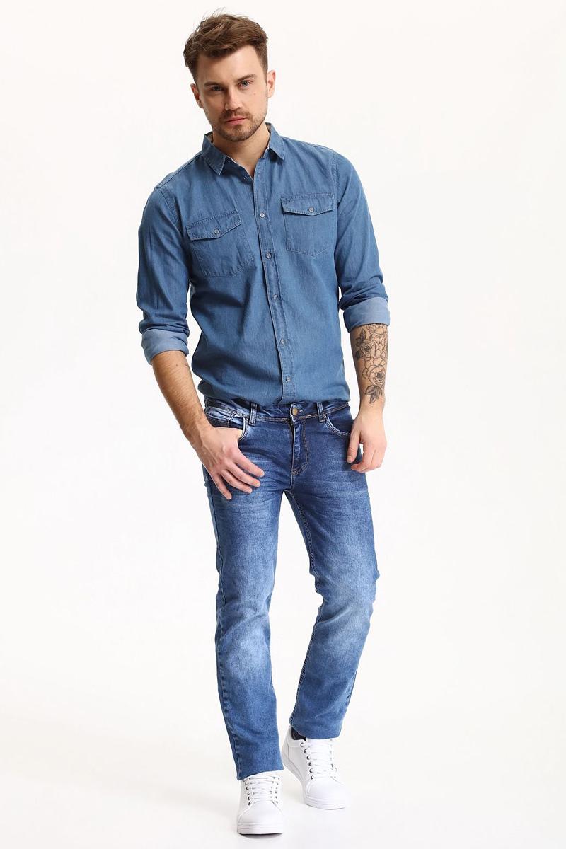Рубашка мужская Top Secret, цвет: синий. SKL2281NI. Размер 42/43 (50)SKL2281NIРубашка мужская Top Secret выполнена из 100% хлопка. Модель с отложным воротником и длинными рукавами застегивается на пуговицы.
