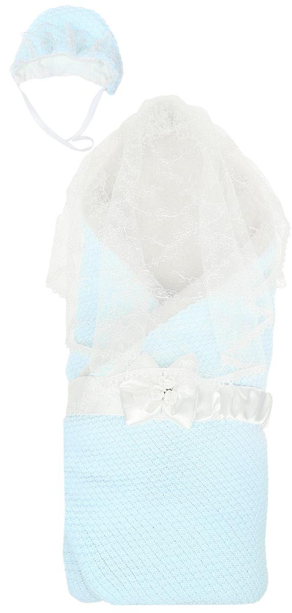 Конверт-одеяло на выписку Сонный гномик Жемчужинка, цвет: голубой. 1709М/1. Возраст 0/9 месяцев1709М/1Конверт-одеяло Сонный гномик Жемчужинка прекрасно подойдет для выписки новорожденного из роддома. В дальнейшем его можно использовать во время прогулок с малышом в коляске-люльке или в качестве удобного коврика для пеленания. Конверт изготовлен из 100% акрила на подкладке из шерсти с добавлением полиэстера. В качестве утеплителя используется шелтер (100% полиэстер). Шелтер (Shelter) - утеплитель нового поколения с тонкими волокнами. Его более мягкие ячейки лучше удерживают воздух, эффективнее сохраняя тепло. Более частые связи между волокнами делают утеплитель прочным и позволяют сохранить его свойства даже после многократных стирок. Утеплитель шелтер максимально защищает от холода и не стесняет движений. Конверт-одеяло складывается и фиксируется на липучку. Верхняя часть конверта украшена вуалью с ажурной вышивкой, пристегивающейся с помощью липучек. Также в комплект входит очаровательный акриловый чепчик на хлопковой подкладке, украшенный оборкой из вуали и атласный поясок на резинке, украшенный декоративным бантиком. Оригинальный конверт на выписку порадует взгляд родителей и прохожих.