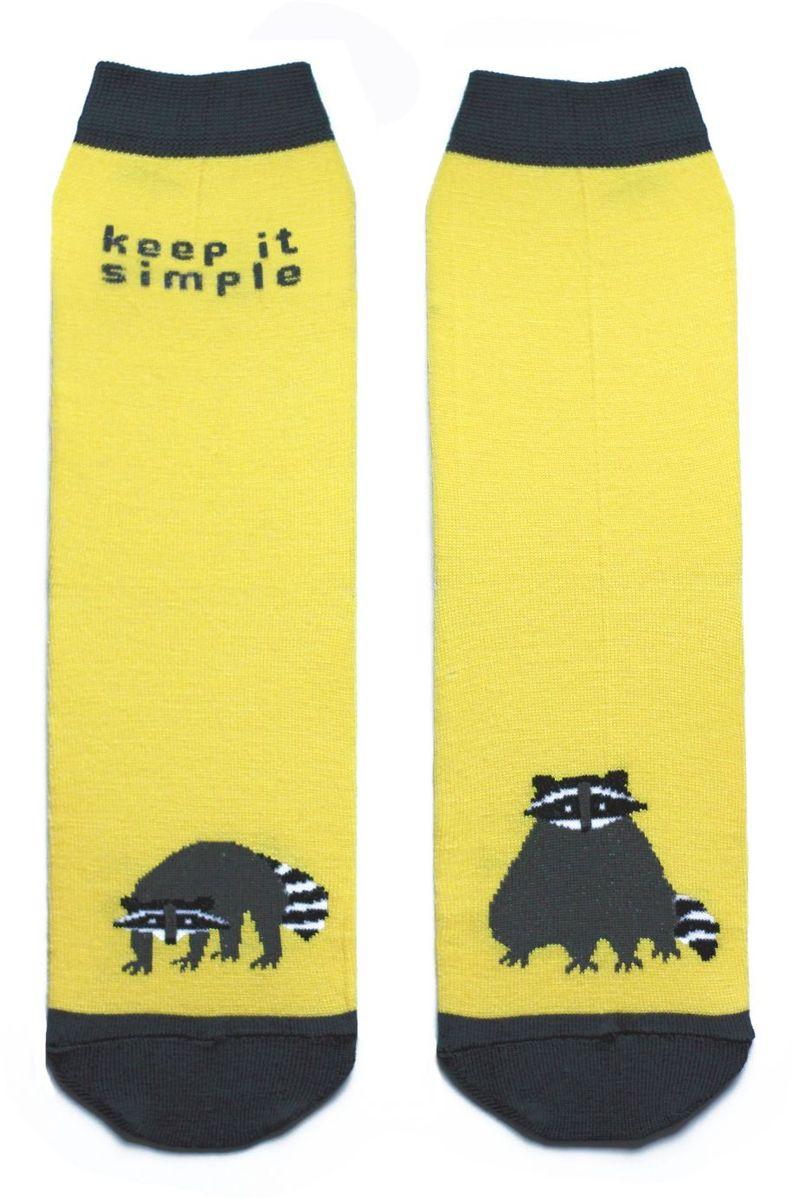 Носки детские Big Bang Socks, цвет: желтый. ca1211. Размер 30/34ca1211Яркие носки Big Bang Socks изготовлены из высококачественного хлопка с добавлением полиамидных и эластановых волокон, которые обеспечивают великолепную посадку. Носки отличаются ярким стильным дизайном. Они оформлены изображением енотов и надписью keep it simple (не усложняй).