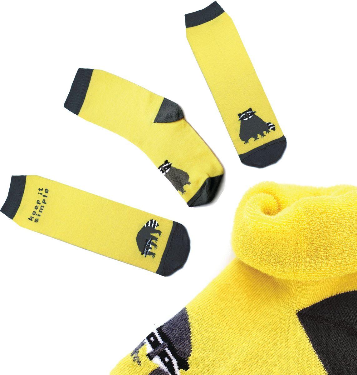 Носки детские Big Bang Socks, цвет: желтый. ca1213. Размер 30/34ca1213Яркие носки Big Bang Socks изготовлены из высококачественного хлопка с добавлением полиамидных и эластановых волокон, которые обеспечивают великолепную посадку. Носки отличаются ярким стильным дизайном. Они оформлены изображением енотов и надписью keep it simple (не усложняй).
