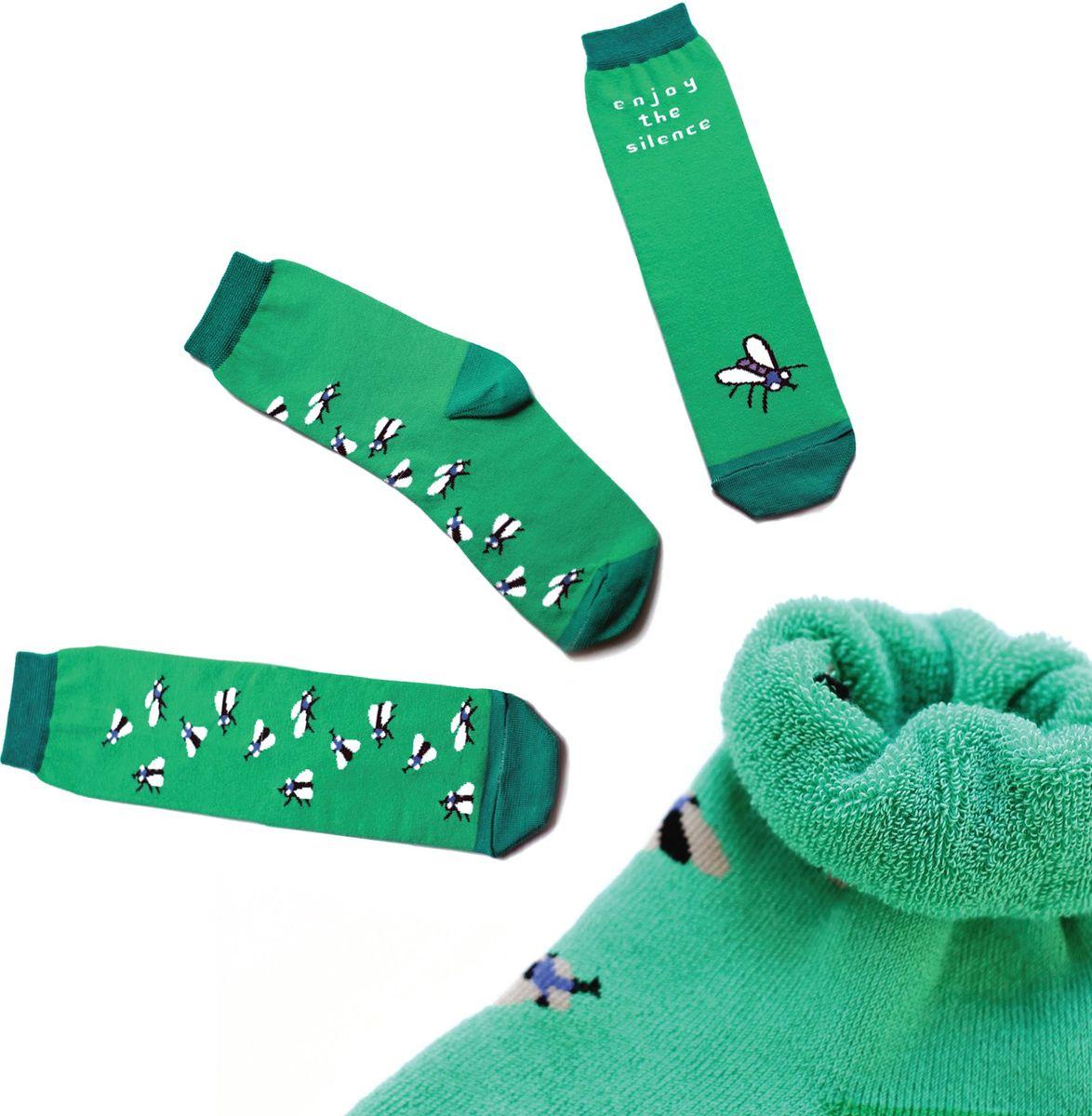Носки детские Big Bang Socks, цвет: зеленый. ca1413. Размер 30/34ca1413Яркие носки Big Bang Socks изготовлены из высококачественного хлопка с добавлением полиамидных и эластановых волокон, которые обеспечивают великолепную посадку. Носки отличаются ярким стильным дизайном. Они оформлены изображением насекомых и надписью enjoy the silence (наслаждайся тишиной).