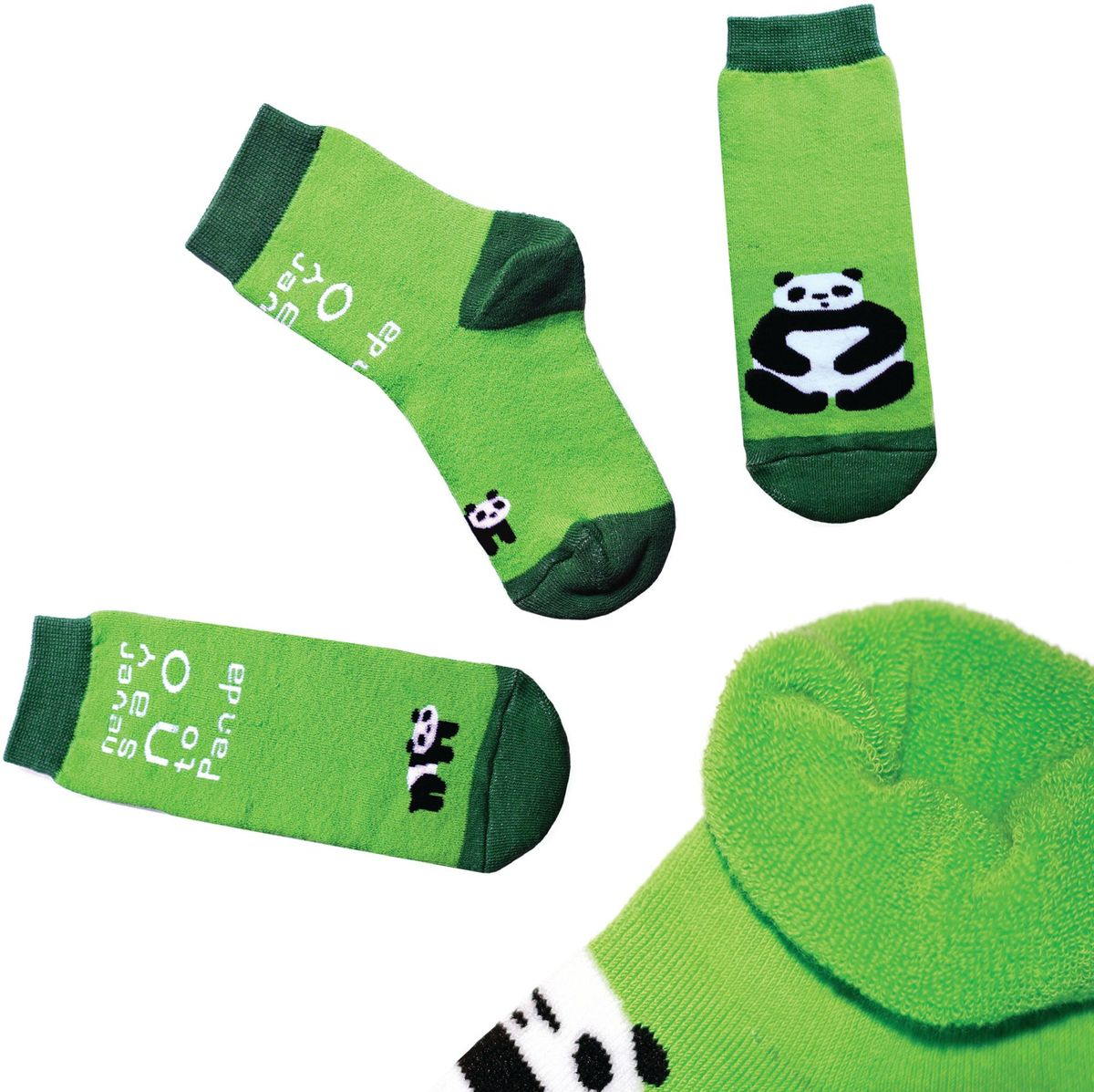 Носки детские Big Bang Socks, цвет: салатовый. n113. Размер 30/34n113Яркие носки Big Bang Socks изготовлены из высококачественного хлопка с добавлением полиамидных и эластановых волокон, которые обеспечивают великолепную посадку. Носки отличаются ярким стильным дизайном. Они оформлены изображением панды и надписью never say no to panda (никогда не говори нет панде).