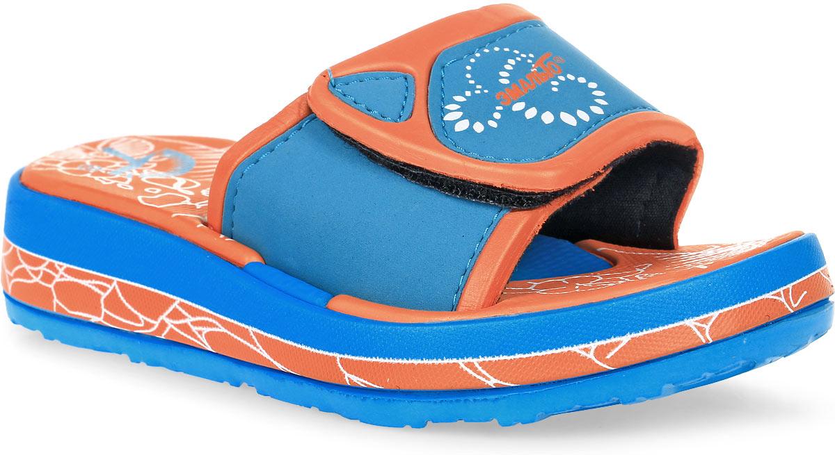 Шлепанцы для девочки Эмальто, цвет: голубой, оранжевый. 6022В-5. Размер 346022В-5Яркие шлепанцы от Эмальто придутся по душе вашей юной моднице. Модель выполнена полностью из легкого ЭВА-материала. Застежка-липучка на перемычке позволяет отрегулировать объем. Рельеф на верхней поверхности подошвы предотвращает выскальзывание ноги. Материал ЭВА имеет пористую структуру, обладает великолепными теплоизоляционными и морозостойкими свойствами, придает обуви амортизационные свойства, мягкость при ходьбе, устойчивость к истиранию подошвы. Гибкая подошва дополнена рифлением, которое гарантирует идеальное сцепление с любыми поверхностями. Удобные шлепанцы прекрасно подойдут для похода в бассейн или на пляж.