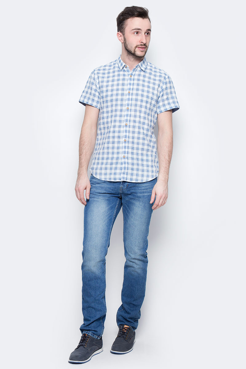 Рубашка мужская Tom Tailor Denim, цвет: голубой, белый, светло-серый. 2033793.00.12_6695. Размер XXL (54)2033793.00.12_6695Мужская рубашка Tom Tailor Denim поможет создать отличный современный образ. Модель изготовлена из хлопка. Рубашка скороткими рукавами и отложным воротником застегивается по все длине на пуговицы. Оформлено изделие принтом в клетку. Такая рубашка станет стильным дополнением к вашему гардеробу, она подарит вам комфорт в течение всего дня!