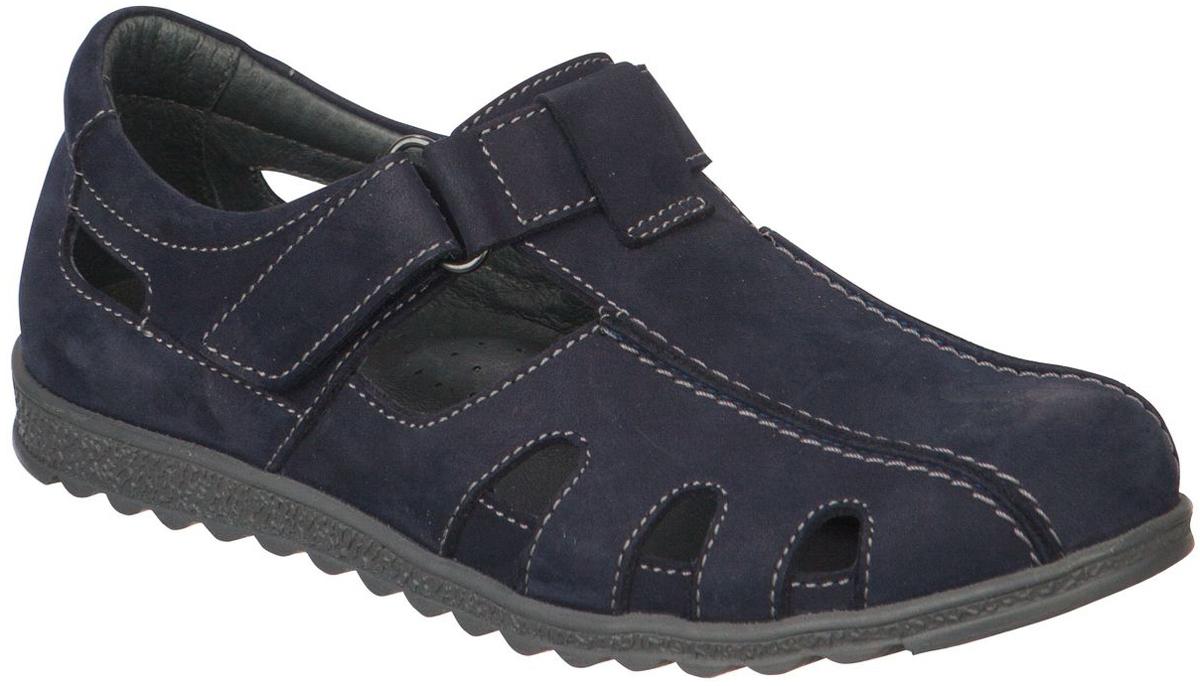 Сандалии для мальчика Kapika, цвет: темно-синий. 23416-1. Размер 3523416-1Модные сандалии для мальчика от Kapika выполнены из натуральной кожи. Ремешок с застежкой-липучкой надежно зафиксирует модель на ноге. Внутренняя поверхность и стелька из натуральной кожи обеспечат комфорт при движении. Стелька оснащена супинатором. Подошва дополнена рифлением.