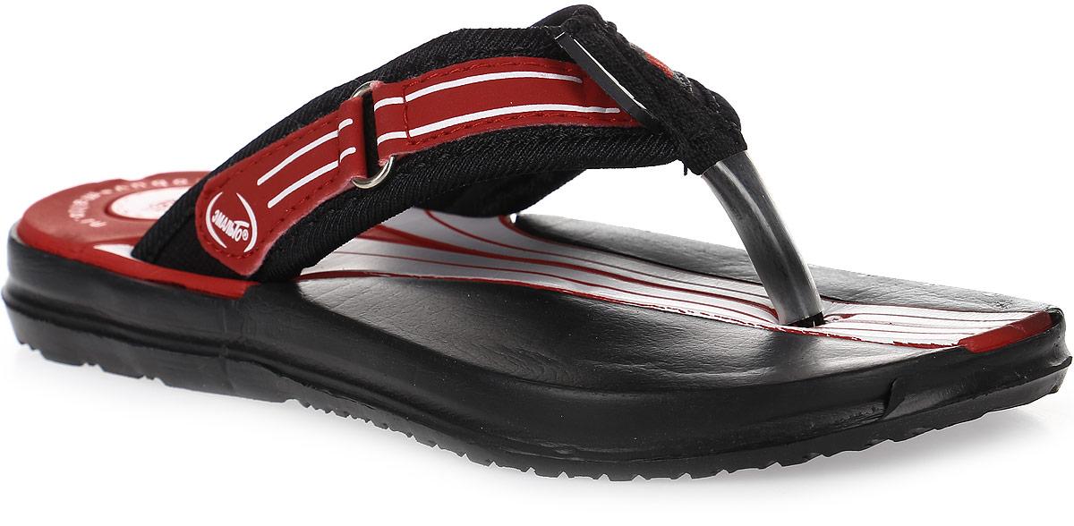 Шлепанцы для мальчика Эмальто, цвет: красный, черный. 977В-13. Размер 31977В-13Легкие шлепанцы Эмальто для мальчика выполнены из мягкого водонепроницаемого материала ЭВА. Перемычка между пальцев с отделкой из текстиля надежно зафиксирует обувь на ноге. Невесомая подошва из ЭВА с рифлением обеспечит отличное сцепление с любой поверхностью. Такие шлепанцы прекрасно подойдут для похода в бассейн или для поездки на пляж.