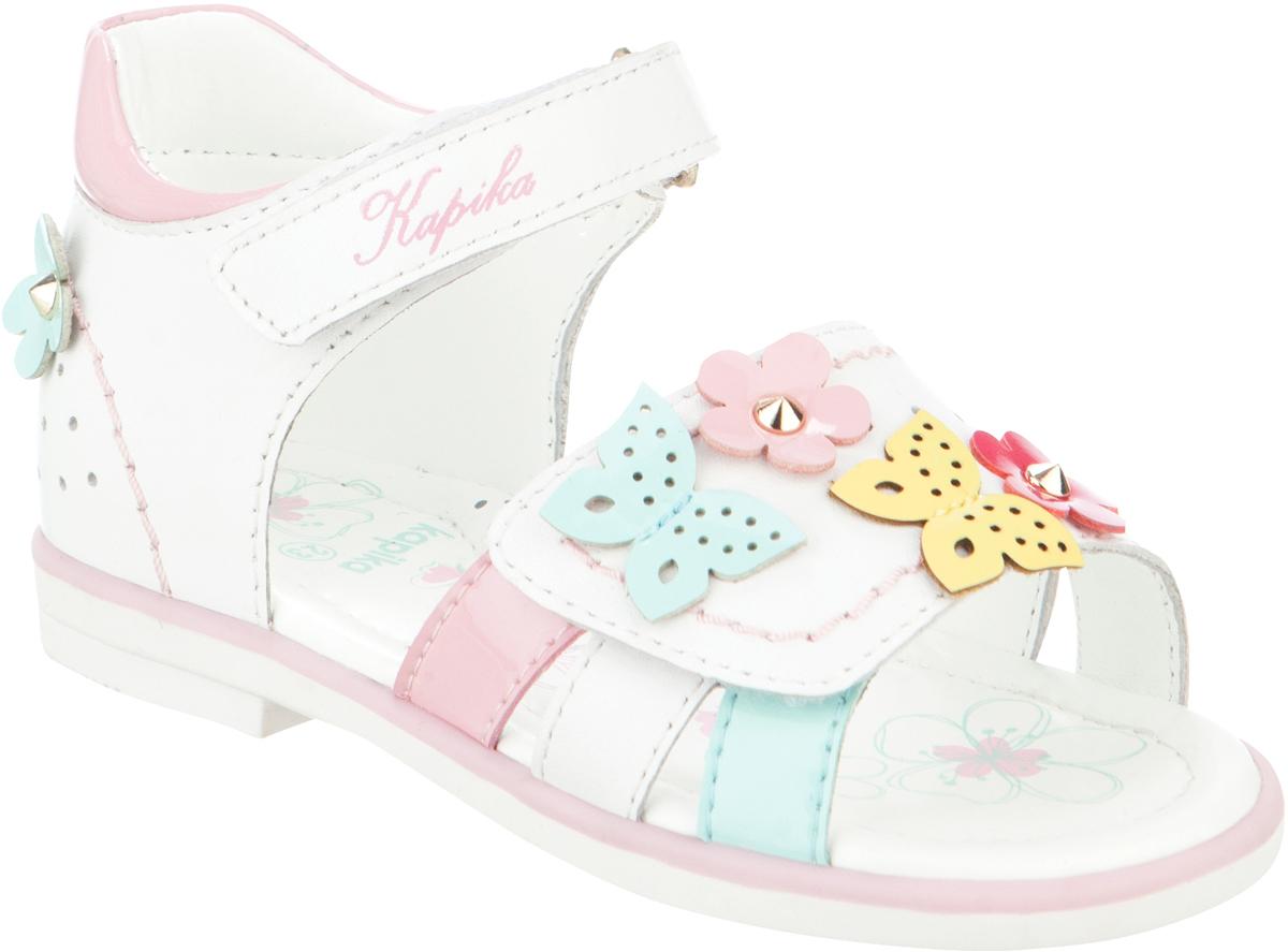 Сандалии для девочки Kapika, цвет: белый, розовый, голубой. 31275ок-1. Размер 2331275ок-1Модные сандалии для девочки от Kapika выполнены из натуральной и искусственной кожи. Модель оформлена декоративными элементами. Ремешки с застежками-липучками надежно зафиксируют модель на ноге. Внутренняя поверхность и стелька из натуральной кожи обеспечат комфорт при движении. Подошва дополнена рифлением.