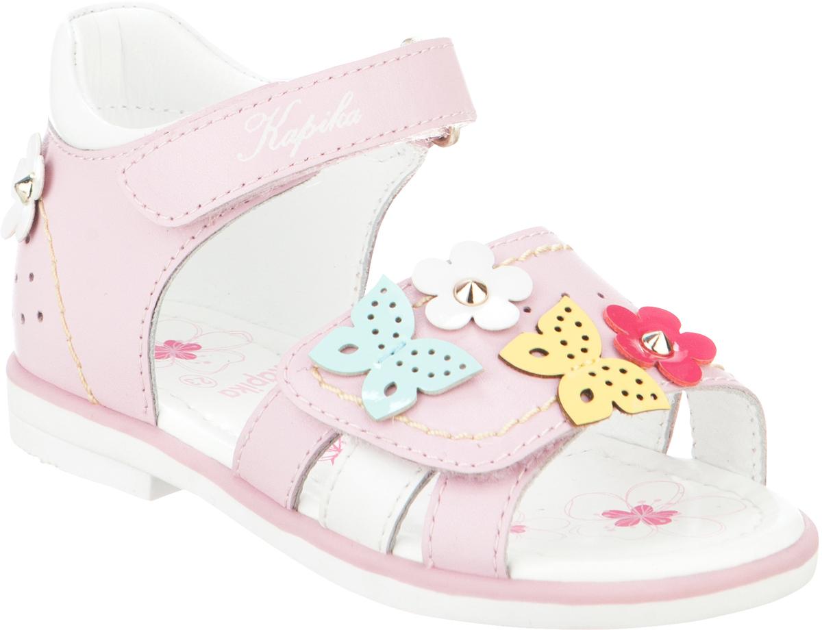 Сандалии для девочки Kapika, цвет: розовый, белый. 31275ок-2. Размер 2331275ок-2Модные сандалии для девочки от Kapika выполнены из натуральной и искусственной кожи. Модель оформлена декоративными элементами. Ремешки с застежками-липучками надежно зафиксируют модель на ноге. Внутренняя поверхность и стелька из натуральной кожи обеспечат комфорт при движении. Подошва дополнена рифлением.