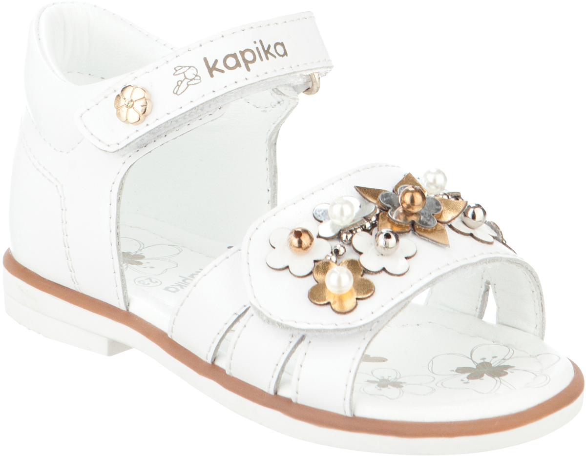 Сандалии для девочки Kapika, цвет: белый. 31276о-1. Размер 2331276о-1Модные сандалии для девочки от Kapika выполнены из натуральной кожи. Ремешки с застежками-липучками надежно зафиксируют модель на ноге. Передний ремешок оформлен декоративными элементами. Внутренняя поверхность и стелька из натуральной кожи обеспечат комфорт при движении. Подошва дополнена рифлением.