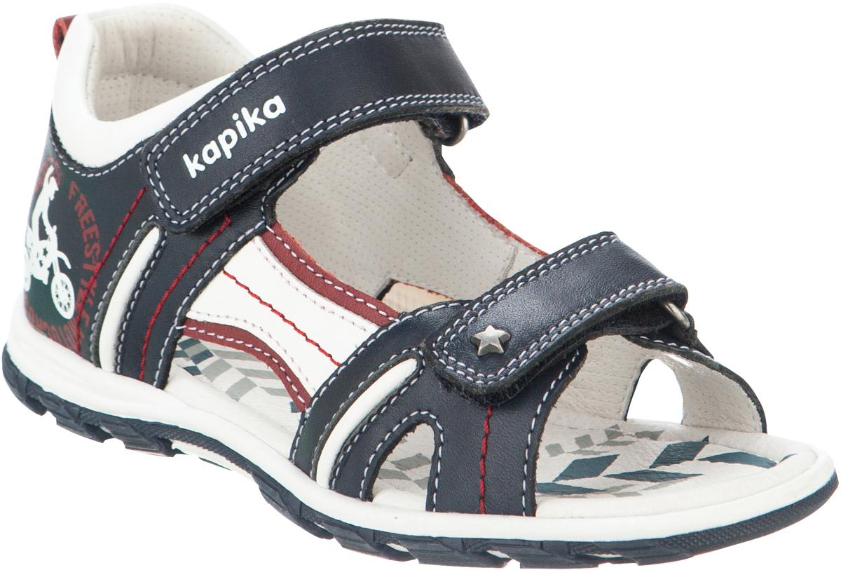 Сандалии для мальчика Kapika, цвет: темно-синий, белый, бордовый. 32297-2. Размер 2332297-2Модные сандалии для мальчика от Kapika выполнены из натуральной кожи. Ремешки с застежками-липучками надежно зафиксируют модель на ноге. Внутренняя поверхность и стелька из натуральной кожи обеспечат комфорт при движении. Подошва дополнена рифлением.