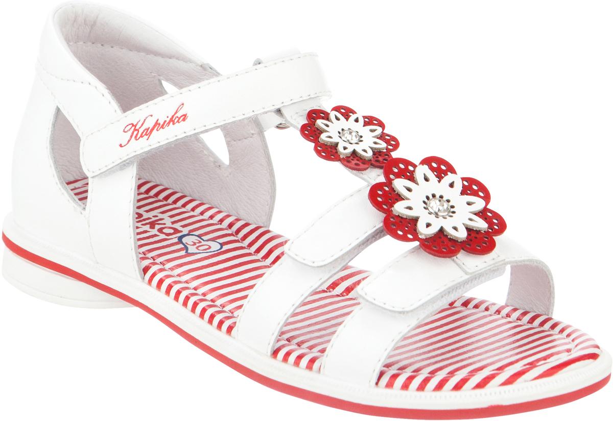Сандалии для девочки Kapika, цвет: белый, красный. 32306-1. Размер 3032306-1Модные сандалии для девочки от Kapika выполнены из натуральной кожи. Ремешки с застежками-липучками надежно зафиксируют модель на ноге. Внутренняя поверхность и стелька из натуральной кожи обеспечат комфорт при движении. Подошва дополнена рифлением.