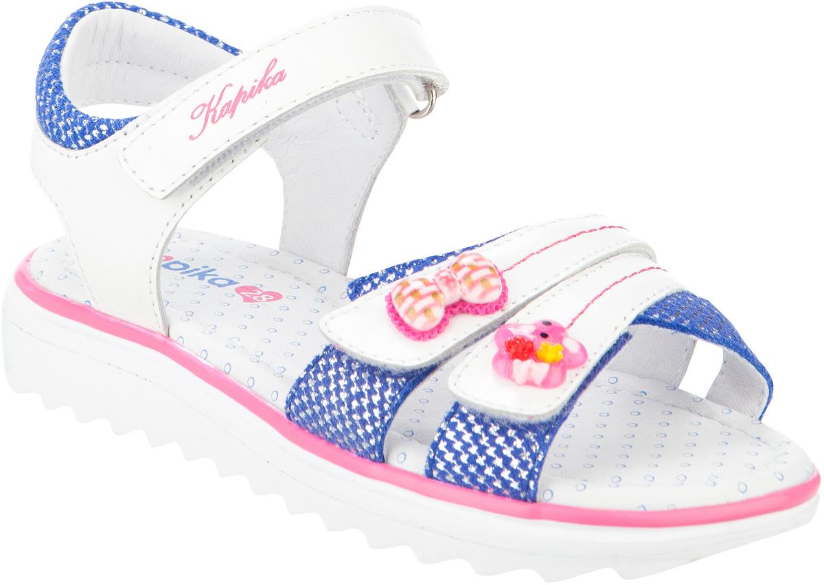 Сандалии для девочки Kapika, цвет: белый, синий. 32327-2. Размер 3132327-2Модные сандалии для девочки от Kapika выполнены из натуральной кожи. Ремешки с застежками-липучками надежно зафиксируют модель на ноге. Внутренняя поверхность и стелька из натуральной кожи обеспечат комфорт при движении. Подошва дополнена рифлением.