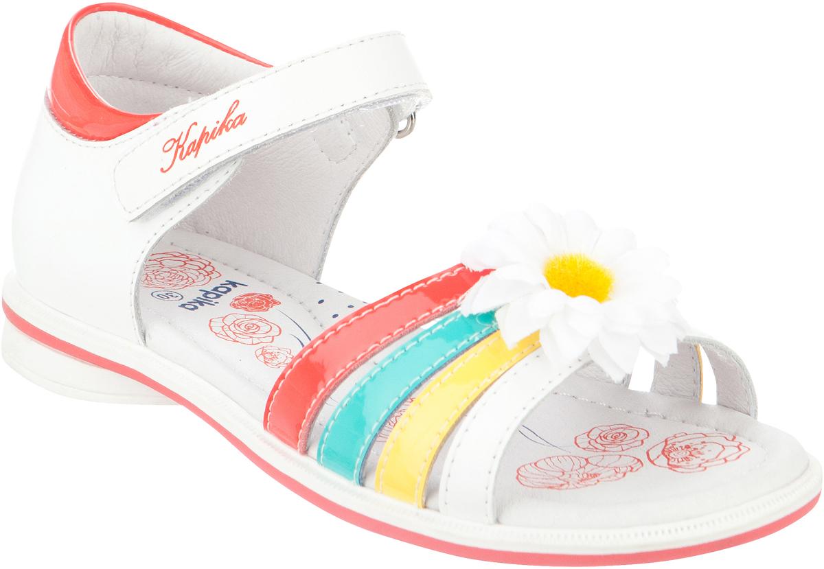 Сандалии для девочки Kapika, цвет: белый, коралловый. 32330к-1. Размер 2632330к-1Модные сандалии для девочки от Kapika выполнены из искусственной и натуральной кожи. Ремешок с застежкой-липучкой надежно зафиксирует модель на ноге. Передние ремешки оформлены декоративным цветком. Внутренняя поверхность и стелька из натуральной кожи обеспечат комфорт при движении. Подошва дополнена рифлением.