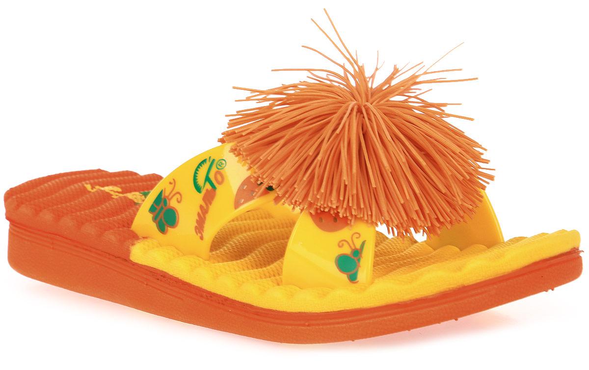 Шлепанцы для девочки Эмальто, цвет: желтый, оранжевый. 8025С-3. Размер 278025С-3Яркие шлепанцы от Эмальто придутся по душе вашей юной моднице. Модель выполнена полностью из легкого ЭВА-материала. Перемычка оформлена красочными рисунками и дополнена по центру помпоном. Рельеф на верхней поверхности подошвы предотвращает выскальзывание ноги. Материал ЭВА имеет пористую структуру, обладает великолепными теплоизоляционными и морозостойкими свойствами, придает обуви амортизационные свойства, мягкость при ходьбе, устойчивость к истиранию подошвы. Гибкая подошва дополнена рифлением, которое гарантирует идеальное сцепление с любыми поверхностями. Удобные шлепанцы прекрасно подойдут для похода в бассейн или на пляж.