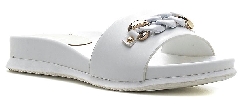 Шлепанцы женские Daze, цвет: белый. 16254S-1-3. Размер 4116254S-1-3Удобные шлепанцы на плоской подошве выполнены из искусственной кожи.