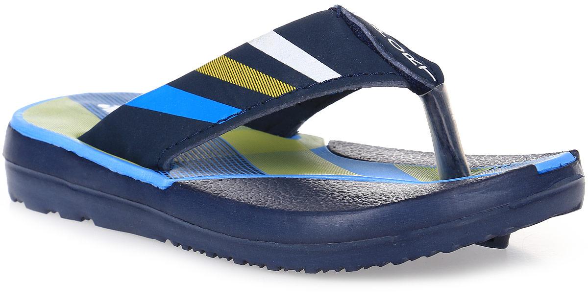 Шлепанцы для мальчика Эмальто, цвет: темно-синий, голубой. 977С-9. Размер 26977С-9Легкие шлепанцы Эмальто для мальчика выполнены из мягкого водонепроницаемого материала ЭВА и оформлены принтом в виде разноцветных полос. Перемычка между пальцев надежно зафиксирует обувь на ноге. Невесомая подошва из ЭВА с рифлением обеспечит отличное сцепление с любой поверхностью. Такие шлепанцы прекрасно подойдут для похода в бассейн или для поездки на пляж.
