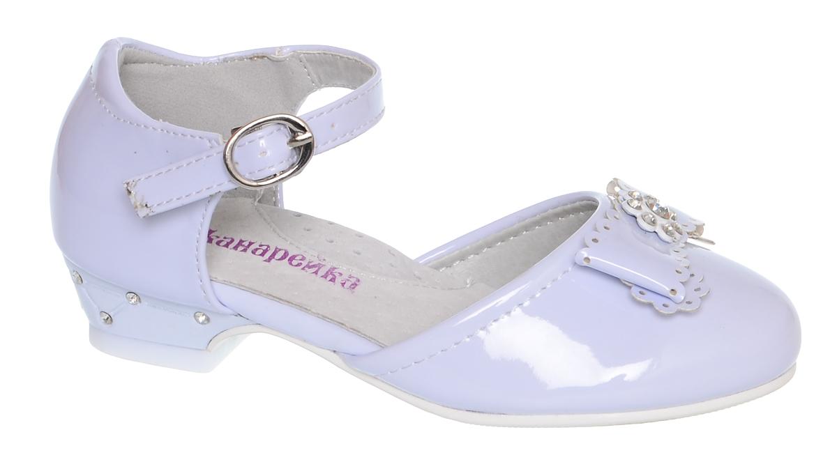 Туфли для девочки Канарейка, цвет: светло-голубой. B0102-1. Размер 25B0102-1Модные туфли для девочки Канарейка выполнены из искусственной кожи. Мыс модели декорирован бантом со стразами. Внутренняя поверхность из искусственной кожи не натирает. Ремешок с металлической пряжкой надежно зафиксирует модель на ноге. Подошва и невысокий каблук с рифлением обеспечивают отличное сцепление с любой поверхностью. Стильные туфли - незаменимая вещь в гардеробе каждой девочки.