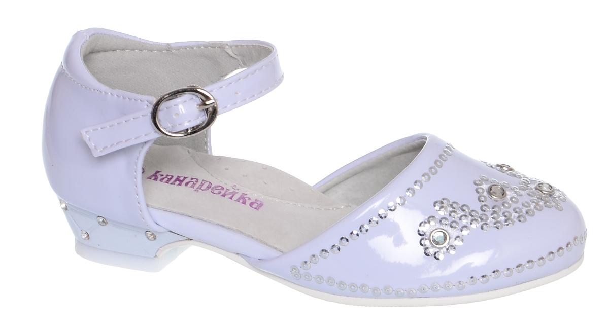 Туфли для девочки Канарейка, цвет: белый. B0105-1. Размер 27B0105-1Модные туфли для девочки Канарейка выполнены из искусственной кожи. Мыс модели декорирован стразами. Внутренняя поверхность из искусственной кожи не натирает. Ремешок с металлической пряжкой надежно зафиксирует модель на ноге. Подошва и невысокий каблук с рифлением обеспечивают сцепление с любой поверхностью. Стильные туфли - незаменимая вещь в гардеробе каждой девочки.