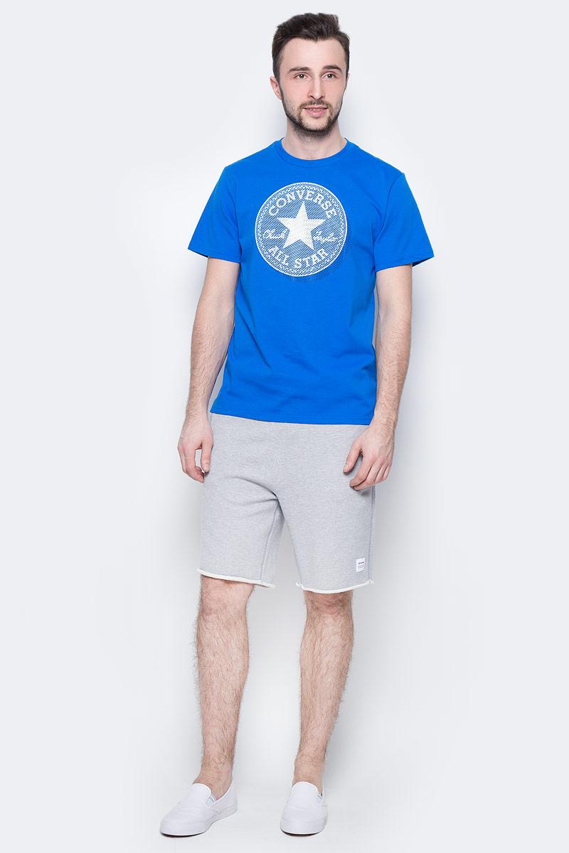 Футболка мужская Converse Knitted SS Crew Tee, цвет: синий. 10003386430. Размер XL (52)10003386430Футболка Converse - оптимальный вариант для активного отдыха и повседневного использования. Модель выполнена из хлопка, что обеспечивает максимально комфортные ощущения во время использования. Крупный принт на груди придает изделию оригинальность.