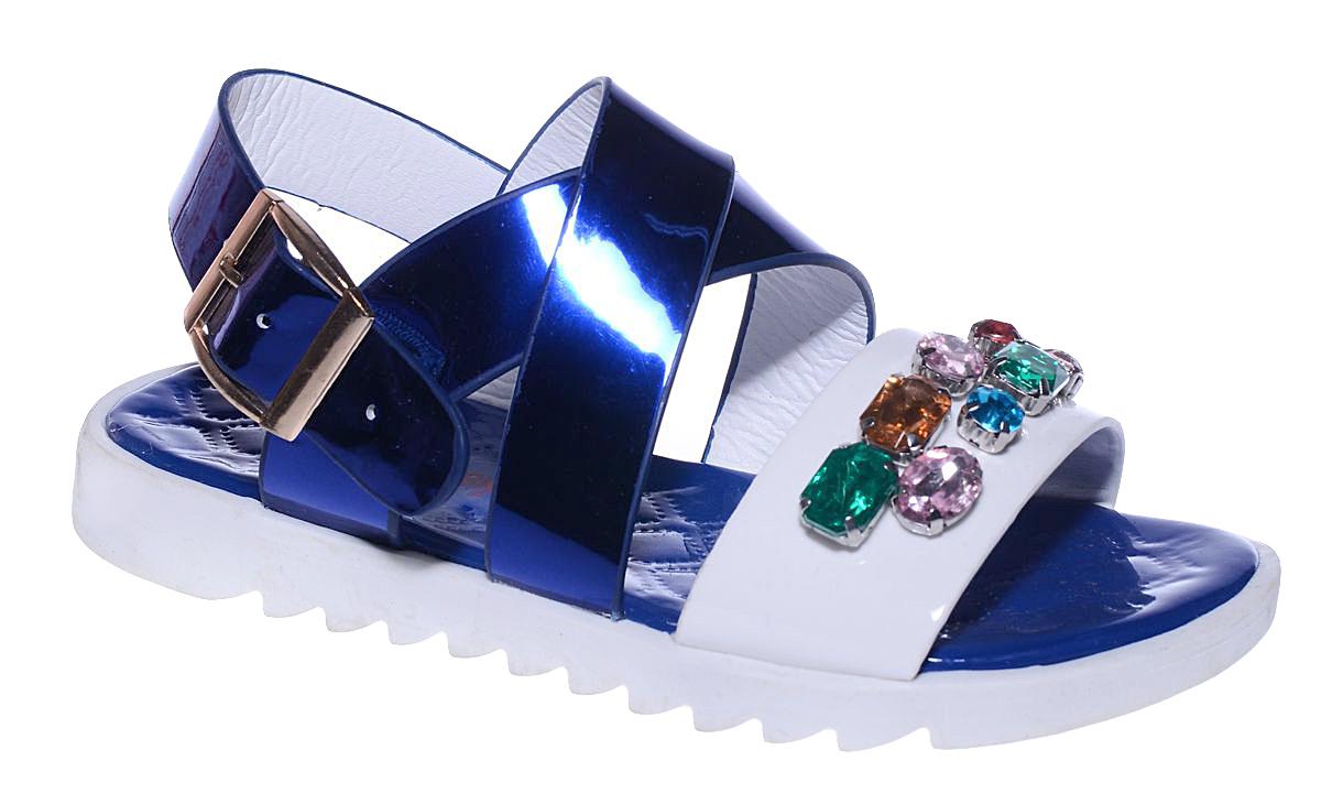 Босоножки для девочки Канарейка, цвет: синий, белый. F2021-3. Размер 30F2021-3Оригинальные босоножки Канарейка придутся по душе вашей юной моднице и идеально подойдут как для повседневной носки, так и для торжественного случая! Модель выполнена из искусственной кожи и оформлена декоративными элементами со стразами. Ремешок с металлической пряжкой прямоугольной формы и перекрещивающиеся ремешки на подъеме, надежно зафиксируют модель на ножке. Длина ремешка регулируется за счет болта. Подошва с рифлением обеспечит отличное сцепление с любой поверхностью. Стильные босоножки - незаменимая вещь в гардеробе каждой девочки!