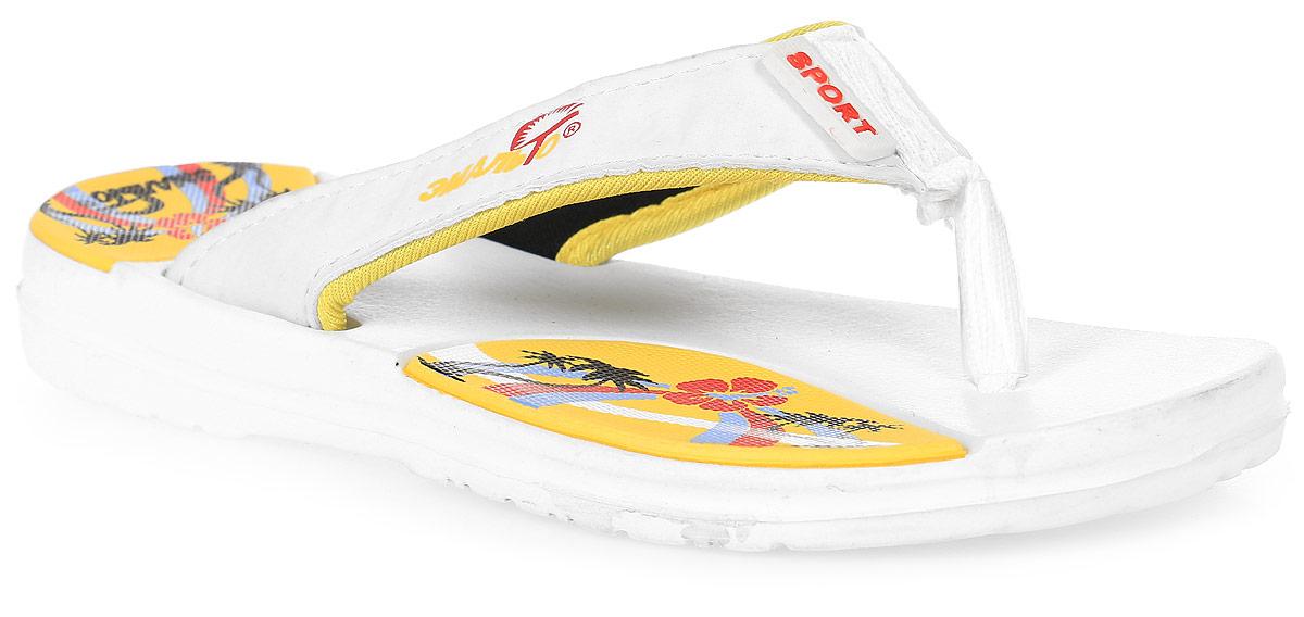 Шлепанцы для мальчика Эмальто, цвет: белый. 692В-3. Размер 31692В-3Легкие шлепанцы Эмальто для мальчика выполнены из мягкого водонепроницаемого материала ЭВА. Перемычка между пальцев с отделкой из текстиля надежно зафиксирует обувь на ноге. Невесомая подошва из ЭВА с рифлением обеспечит отличное сцепление с любой поверхностью. Такие шлепанцы прекрасно подойдут для похода в бассейн или для поездки на пляж.