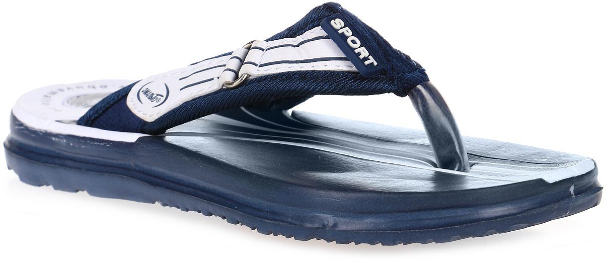 Шлепанцы для мальчика Эмальто, цвет: темно-синий, белый. 977В-13. Размер 30977В-13Легкие шлепанцы Эмальто для мальчика выполнены из мягкого водонепроницаемого материала ЭВА. Перемычка между пальцев с отделкой из текстиля надежно зафиксирует обувь на ноге. Невесомая подошва из ЭВА с рифлением обеспечит отличное сцепление с любой поверхностью. Такие шлепанцы прекрасно подойдут для похода в бассейн или для поездки на пляж.