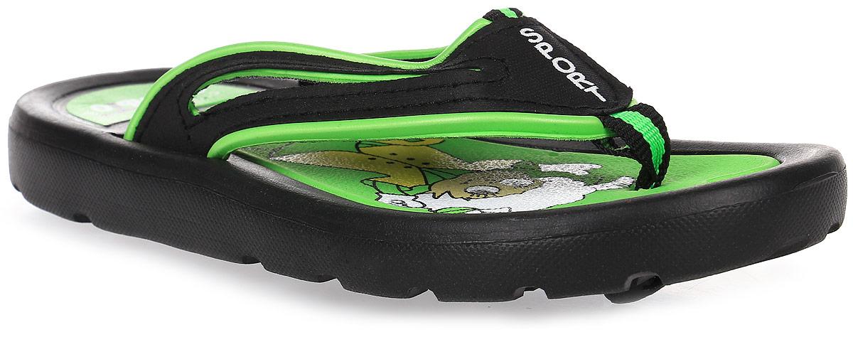 Шлепанцы для девочки Эмальто, цвет: зеленый, черный. 6116В-3. Размер 316116В-3Яркие шлепанцы от Эмальто придутся по душе вашей юной моднице. Модель выполнена полностью из легкого ЭВА-материала. Ремешки с перемычкой гарантируют надежную фиксацию модели на ноге. На верхней поверхности подошвы изображен симпатичный барашек. Материал ЭВА имеет пористую структуру, обладает великолепными теплоизоляционными и морозостойкими свойствами, придает обуви амортизационные свойства, мягкость при ходьбе, устойчивость к истиранию подошвы. Гибкая подошва дополнена рифлением, которое гарантирует идеальное сцепление с любыми поверхностями. Удобные шлепанцы прекрасно подойдут для похода в бассейн или на пляж.