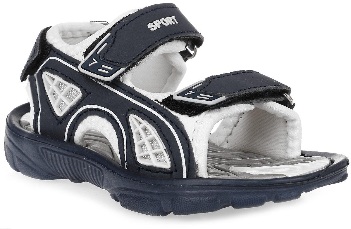 Сандалии для мальчика Эмальто, цвет: белый, серо-синий. 8669А. Размер 288669АМодные сандалии для мальчика от Эмальто полностью выполнены из материала ЭВА. Верхняя поверхность подошвы дополнена рельефом, который обладает массажными свойствами. Ремешки с застежками-липучками надежно зафиксируют модель на ноге. Модель оформлена перфорацией, декоративной прострочкой и нашивками на ремешках. Подошва дополнена рифлением. Легкие и удобные сандалии займут достойное место в летнем гардеробе вашего ребенка.