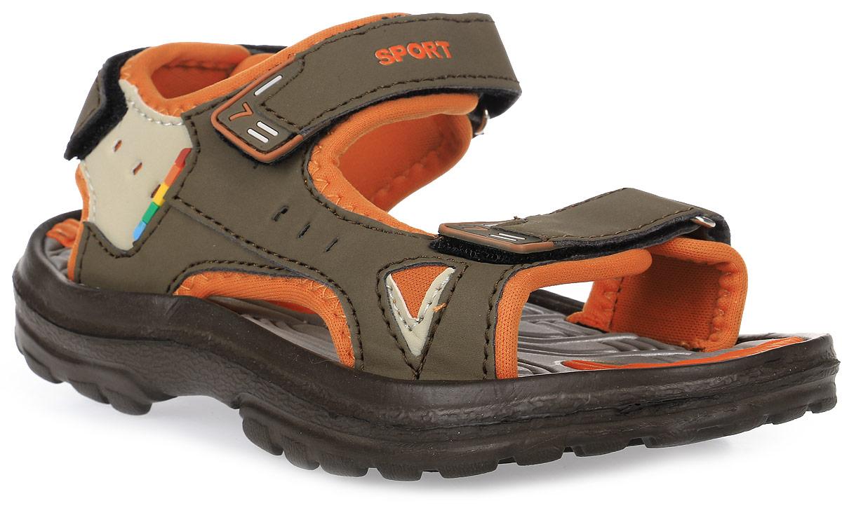 Сандалии для мальчика Эмальто, цвет: коричневый, оранжевый. 8668В. Размер 338668ВМодные сандалии для мальчика от Эмальто полностью выполнены из материала ЭВА. Верхняя поверхность подошвы дополнена рельефом, который обладает массажными свойствами. Ремешки с застежками-липучками надежно зафиксируют модель на ноге. Модель оформлена перфорацией, декоративной прострочкой и нашивками на ремешках. Подошва дополнена рифлением. Легкие и удобные сандалии займут достойное место в летнем гардеробе вашего ребенка.
