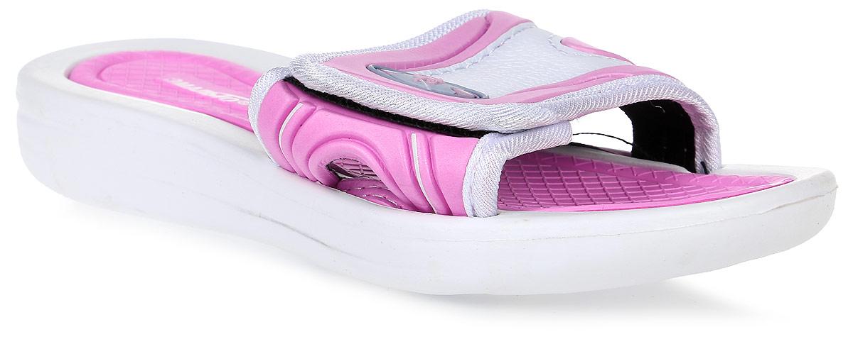 Шлепанцы для девочки Эмальто, цвет: розовый, белый. 617В-31. Размер 35617В-31Яркие шлепанцы от Эмальто придутся по душе вашей юной моднице. Модель выполнена полностью из легкого ЭВА-материала. Широкая перемычка с застежкой-липучкой оформлена прострочкой и дополнена боковым отверстием. Рельеф на верхней поверхности подошвы предотвращает выскальзывание ноги. Материал ЭВА имеет пористую структуру, обладает великолепными теплоизоляционными и морозостойкими свойствами, придает обуви амортизационные свойства, мягкость при ходьбе, устойчивость к истиранию подошвы. Гибкая подошва дополнена рифлением, которое гарантирует идеальное сцепление с любыми поверхностями. Удобные шлепанцы прекрасно подойдут для похода в бассейн или на пляж.