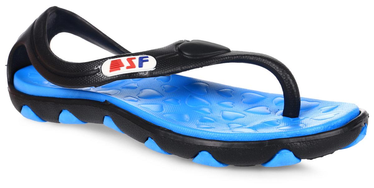 Сланцы для девочки Step Forward, цвет: черный, голубой. T-48W. Размер 36T-48WЛегкие и удобные сланцы Step Forward придутся по душе вашей девочке. Модель выполнена из ЭВА. Удобные ремешки с перемычкой гарантируют надежную фиксацию изделия на ноге. Рельефное основание подошвы обеспечивает уверенное сцепление с любой поверхностью. Стильные сланцы прекрасно подойдут для похода в бассейн или на пляж.