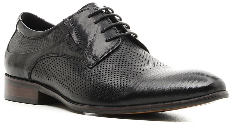 Туфли мужские El Tempo, цвет: черный. RS1_07-03-A78-122. Размер 40RS1_07-03-A78-122_BLACKЭлегантные мужские туфли от El Tempo покорят вас своим удобством. Модель выполнена из высококачественной натуральной кожи и оформлена перфорацией. Резинки, расположенные на подъеме, гарантируют оптимальную посадку обуви на ноге. Шнуровка позволяет прочно зафиксировать изделие. Стелька и подкладка из натуральной кожи позволяют ногам дышать. Рифление на подошве обеспечивает отличное сцепление с различными поверхностями.Стильные туфли прекрасно впишутся в ваш гардероб.