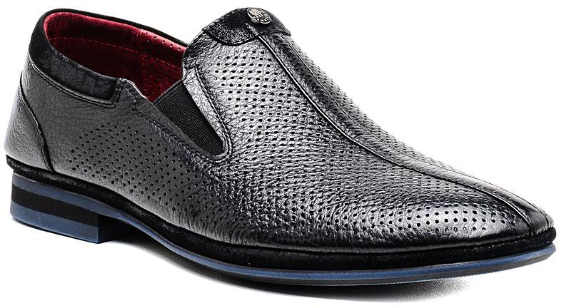Туфли мужские El Tempo, цвет: черный. R287_305-7D. Размер 41R287_305-7D_BLACKСтильные мужские туфли от El Tempo покорят вас своим удобством. Модель выполнена из высококачественной натуральной кожи и оформлена перфорацией. Эластичные резинки, расположенные на подъеме, надежно фиксируют обувь на ноге. Стелька и подкладка из натуральной кожи позволяют ногам дышать. Рифление на подошве обеспечивает отличное сцепление с различными поверхностями.Модные туфли прекрасно впишутся в ваш гардероб.
