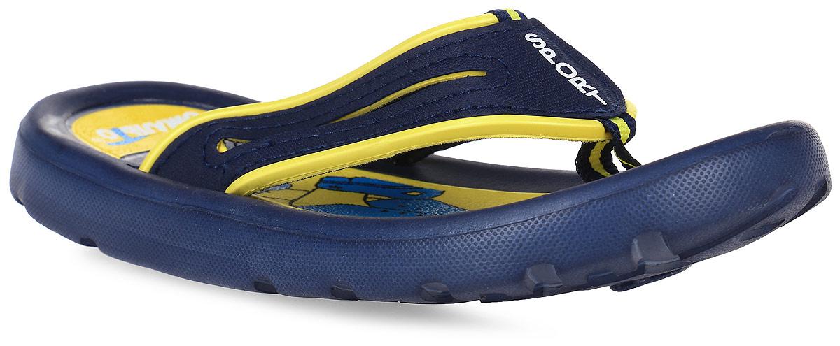 Шлепанцы для девочки Эмальто, цвет: желтый, темно-синий. 6116В-3. Размер 336116В-3Яркие шлепанцы от Эмальто придутся по душе вашей юной моднице. Модель выполнена полностью из легкого ЭВА-материала. Ремешки с перемычкой гарантируют надежную фиксацию модели на ноге. На верхней поверхности подошвы изображен симпатичный барашек. Материал ЭВА имеет пористую структуру, обладает великолепными теплоизоляционными и морозостойкими свойствами, придает обуви амортизационные свойства, мягкость при ходьбе, устойчивость к истиранию подошвы. Гибкая подошва дополнена рифлением, которое гарантирует идеальное сцепление с любыми поверхностями. Удобные шлепанцы прекрасно подойдут для похода в бассейн или на пляж.