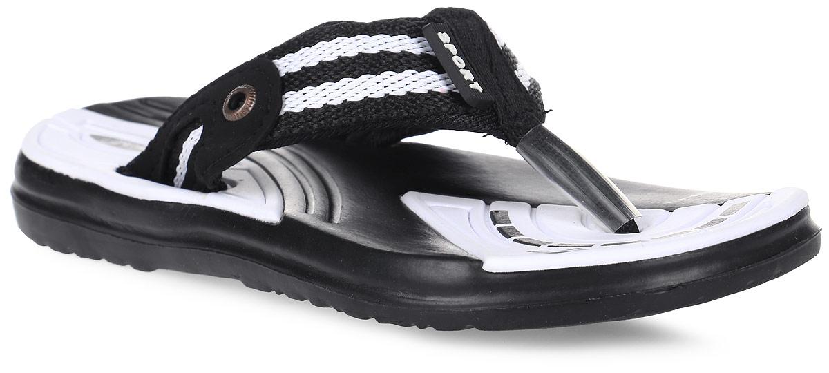 Шлепанцы для мальчика Эмальто, цвет: черный, белый. 695В-8. Размер 30695В-8Легкие шлепанцы Эмальто для мальчика выполнены из мягкого водонепроницаемого материала ЭВА. Перемычка между пальцев из плотного текстиля надежно зафиксирует обувь на ноге. Невесомая подошва из ЭВА материала с рифлением обеспечит отличное сцепление с любой поверхностью. Такие шлепанцы прекрасно подойдут для похода в бассейн или для поездки на пляж.