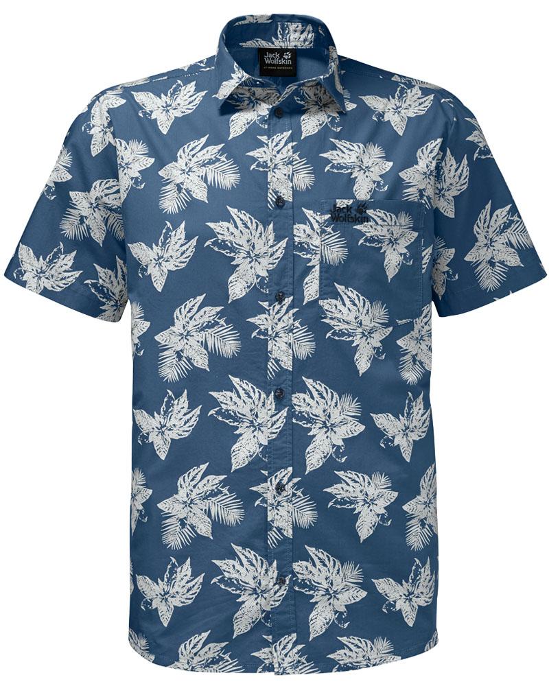 Рубашка мужская Jack Wolfskin Hot Chili Tropical Shirt, цвет: синий. 1402321-7863. Размер L (48/50)1402321-7863Стильная мужская рубашка Jack Wolfskin выполнена из хлопка. Модель с отложным воротником и короткими рукавами застегивается на пуговицы по всей длине. Спереди рубашка дополнена накладным карманом. Оформлена модель модным принтом.