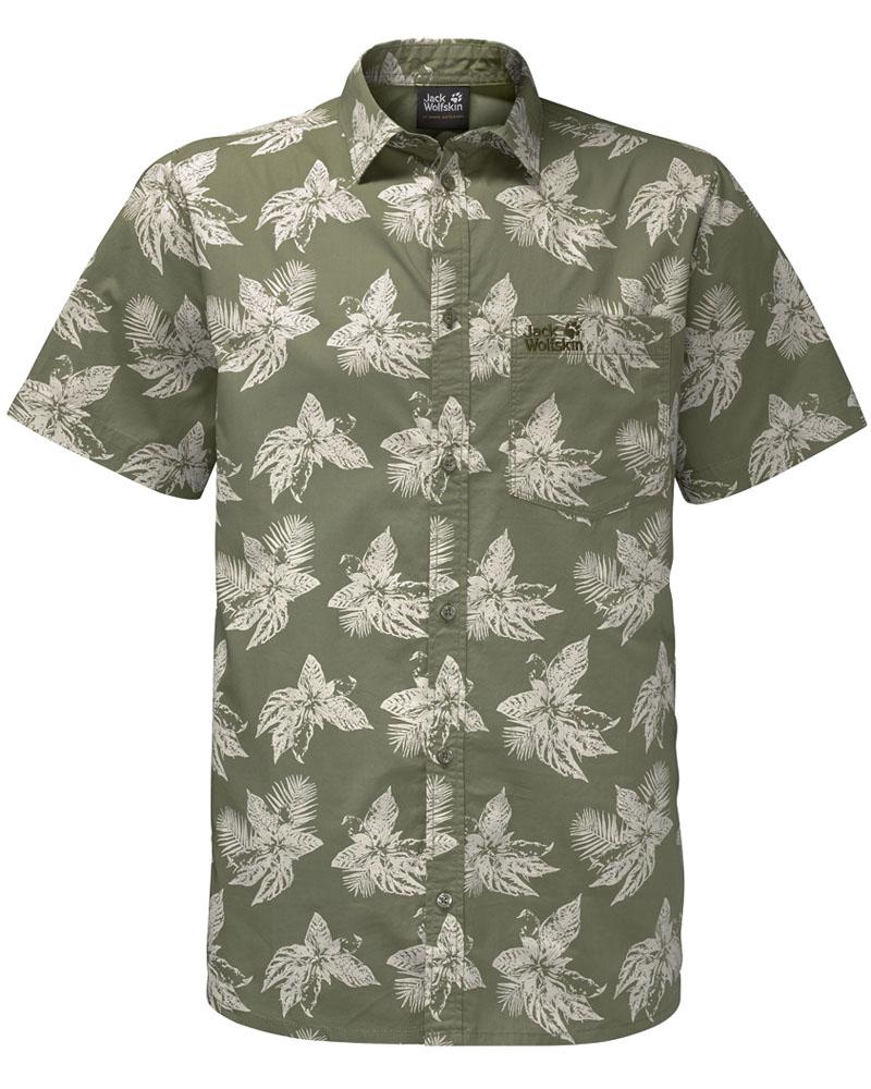 Рубашка мужская Jack Wolfskin Hot Chili Tropical Shirt, цвет: хаки. 1402321-7892. Размер M (44/46)1402321-7892Стильная мужская рубашка Jack Wolfskin выполнена из хлопка. Модель с отложным воротником и короткими рукавами застегивается на пуговицы по всей длине. Спереди рубашка дополнена накладным карманом. Оформлена модель модным принтом.
