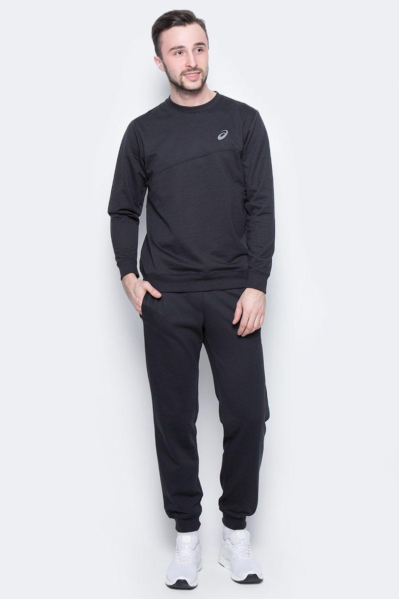 Костюм спортивный мужской Asics Sweater Suit, цвет: черный. 142895-0904. Размер S (46/48)142895-0904Удобный спортивный костюм для повседневных тренировок. Лонгслив с круглым вырезом горловины и длинными рукавами. Брюки дополнены эластичным поясом на талии и внутренним шнурком.