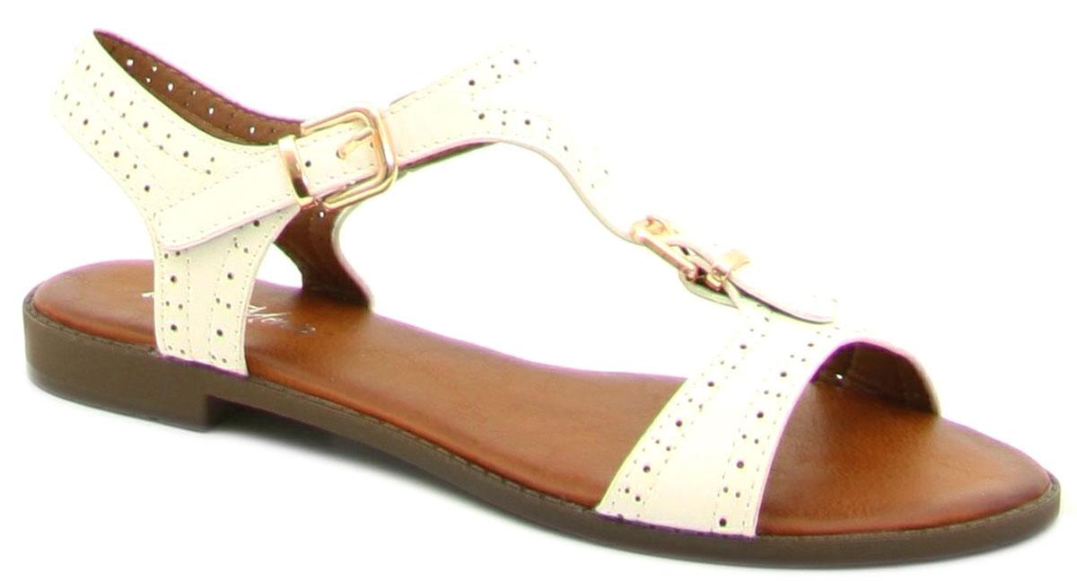 Сандалии женские Bona Mente, цвет: белый. 4872-48-1. Размер 404872-48-1Женские сандалии от Bona Mente выполнены из искусственной кожи. Модель фиксируется на ноге при помощи ремешка на пряжке. Сандалии оформлены перфорацией. Подкладка и стелька, изготовленные из искусственной кожи, обладают хорошей влаговпитываемостью и естественной воздухопроницаемостью. Подошва из резины обеспечивает хорошую амортизацию и сцепление с любой поверхностью.