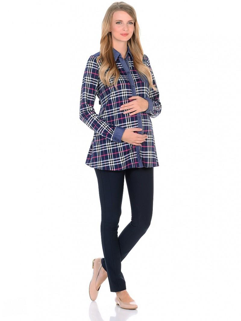 Блузка для беременных 40 недель, цвет: синий, розовый. 200202. Размер 48200202Модная и комфортная блузка для беременных и кормящих женщин от бренда 40 недель - прекрасный вариант на каждый день. Основной трапециевидный крой выполнен из мягкого трикотажного полотна в клетку. Манжеты на рукавах, отложной воротник с передней планкой на пуговицах, накладной карман на полочке, кокетка на спинке и хлястики на пуговицах, выполнены из легкого денима.Продуманный универсальный фасон позволяет носить с комфортом такую блузку в период беременности. После рождения малыша свободный крой скроет временные несовершенства фигуры, обеспечит свободу движениям и удобство при грудном кормлении. Такая блузка особенно стильно будет смотрится в комбинации с джинсами, леггинсами, а так же со многими другими предметами повседневного гардероба.