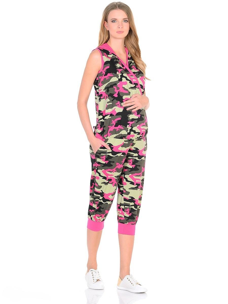 Комбинезон для беременных 40 недель, цвет: хаки, розовый. 103197. Размер 50103197Модный комбинезон от бренда 40 недель - идеальный вариант на каждый день для будущей мамы. Изделие выполнено из трикотажа в модной камуфляжной расцветке. Универсальный крой предусмотрен для женщин в период беременности и грудного кормления. Верхняя часть без рукавов, на запах, дополнен капюшоном. В поясе вшита мягкая резинка, по бокам косые внутренние карманы. Брючины свободного покроя, ниже колена оканчиваются трикотажными манжетами. Эксклюзивный дизайн с легким спортивным оттенком смотрится очень креативно и стильно. Такой комбинезон обеспечит комфорт и свободу движениям, подчеркнет особый вкус и индивидуальность.