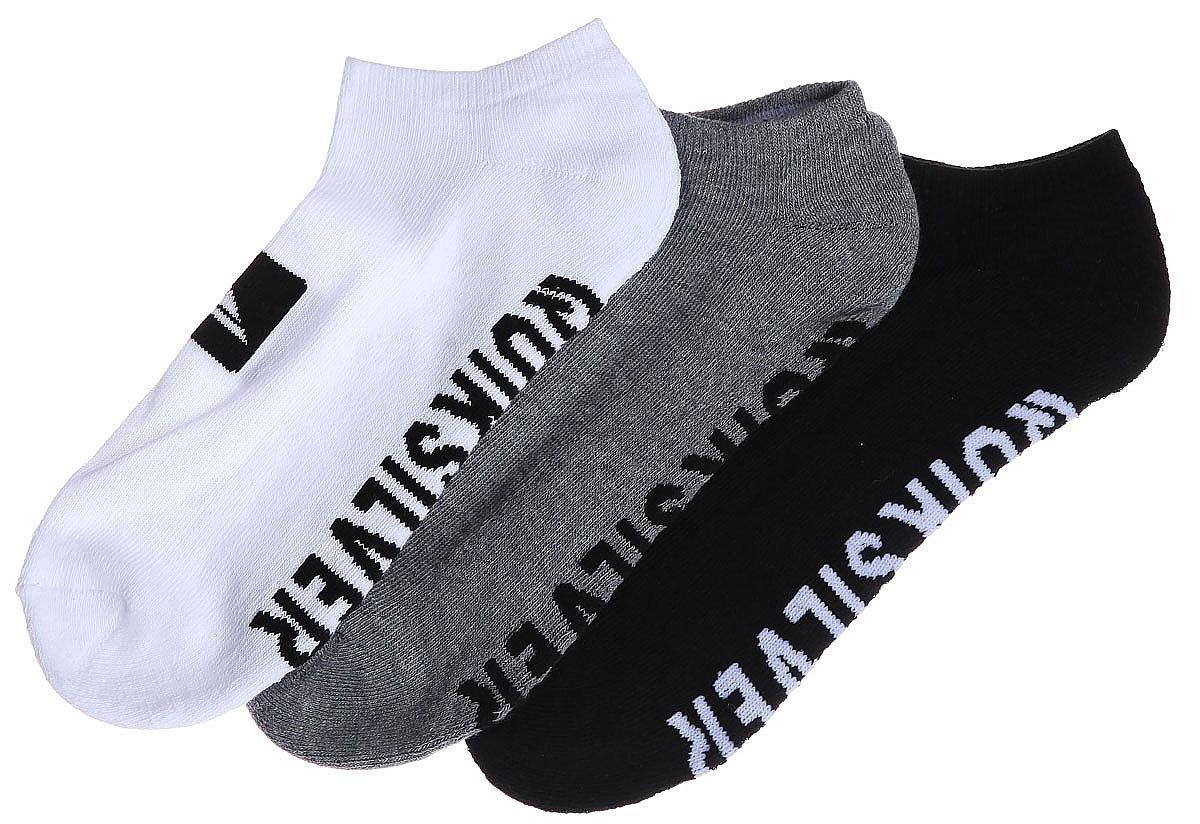 Носки мужские Quiksilver Ankle Pack, цвет: черный, белый, серый, 3 пары. EQYAA03483-AST. Размер 10/13 (43/46)EQYAA03483-ASTМужские носки Quiksilver изготовлены из хлопка с добавлением полиэстера и эластана. Укороченная модель имеет мягкую эластичную резинку. Носки хорошо держат форму и обладают повышенной воздухопроницаемостью.