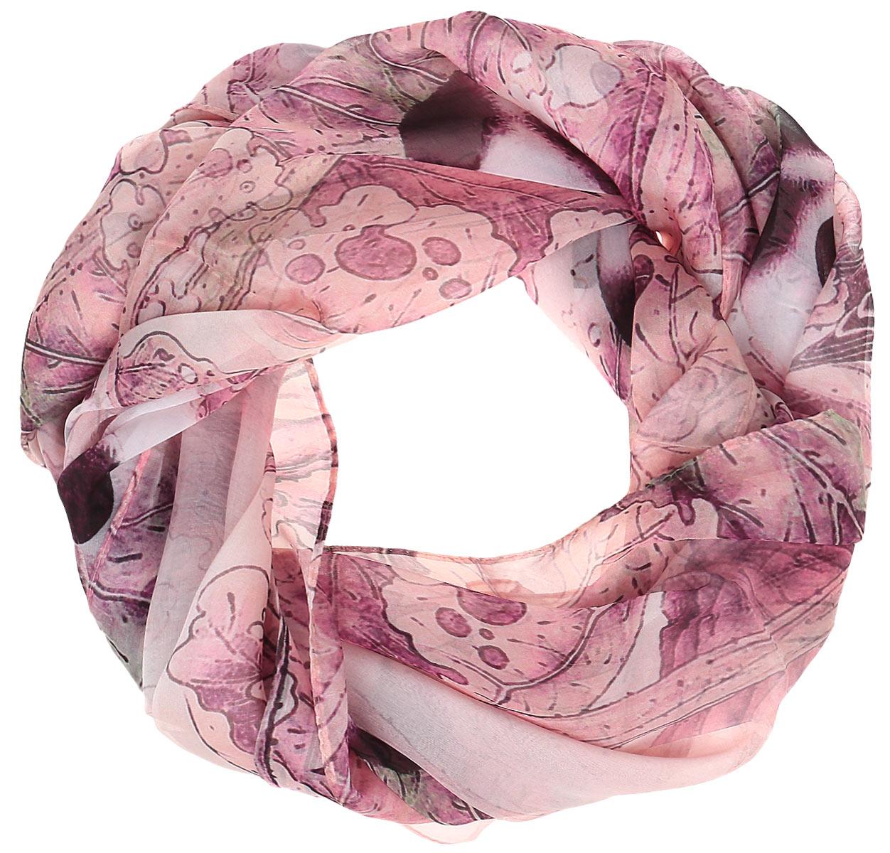 Палантин Eleganzza, цвет: розовый, серый. SS02-7896. Размер 110 см х 180 смSS02-7896Палантин Eleganzza изготовлен из шелка. Модель украшена оригинальным рисунком.Такой аксессуар станет стильным дополнением к гардеробу современной женщины.