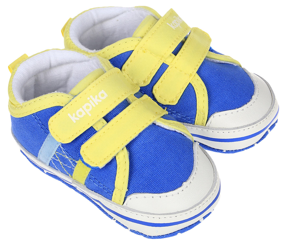Пинетки для мальчика Kapika, цвет: голубой, желтый. 10128. Размер 1710128Стильные и модные пинетки для мальчика Kapika выполнены из текстиля с элементами из натуральной кожи. Модель на застежках-липучках, которые надежно фиксирует пинетки на ножке ребенка и позволяет регулировать их объем. Удобные детские пинетки станут любимой обувью вашего ребенка.
