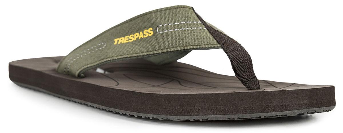 Сланцы мужские Trespass Atticus, цвет: хаки. MAFOBEL10010. Размер 45MAFOBEL10010Легкие и удобные сланцы выполнены из высококачественного текстиля. Поверхность верхней части подошвы из ЭВА материала предотвращает выскальзывание ноги. Подошва дополнена рифлением. Удобные сланцы прекрасно подойдут для похода в бассейн или на пляж.