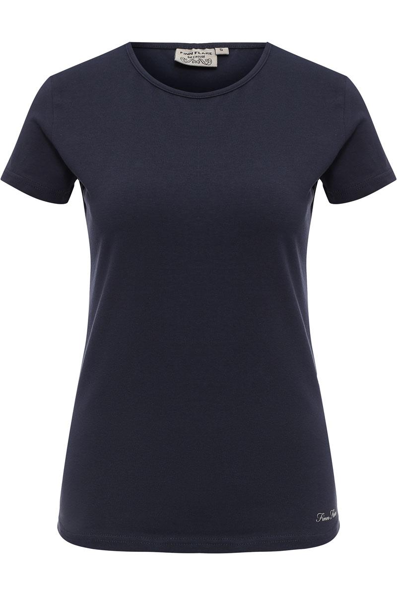 Футболка женская Finn Flare, цвет: темно-синий. S17-11093_101. Размер L (48)S17-11093_101Представленная футболка Finn Flare хорошо дополнит ваш стиль вещей и покажет вас в хорошем свете. Комфортная футболка Finn Flare станет прекрасным решением для любой коллекции. Модель выполнена из хлопка с добавлением эластана.